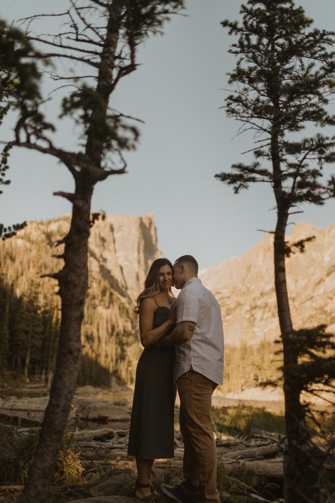 Sunrise engagement adventure shoot in Rocky Mountain NP