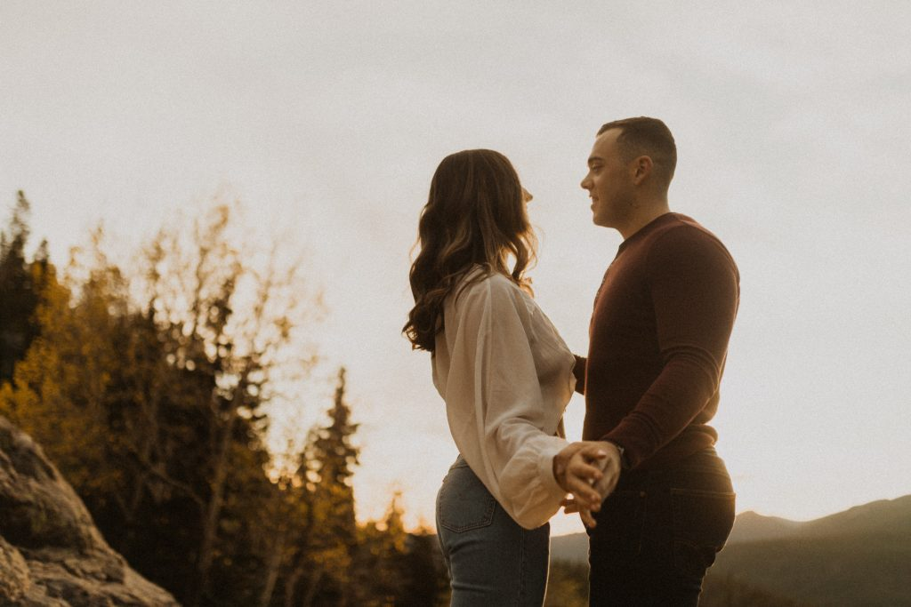 Sunrise hike and engagement photos in Estes Park, CO