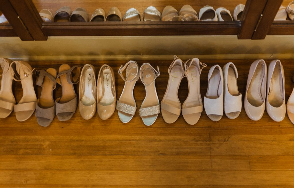 Bridal party shoes lined up