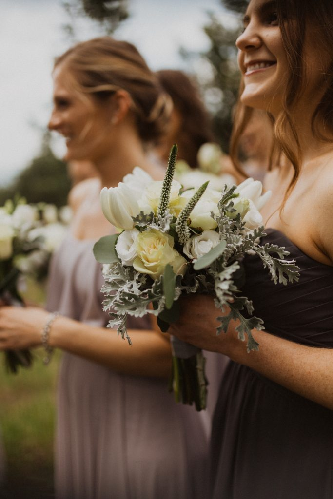 Bridesmaids at mountain wedding Colorado