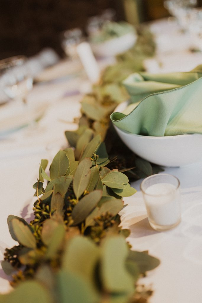 Table details at Colorado mountain wedding