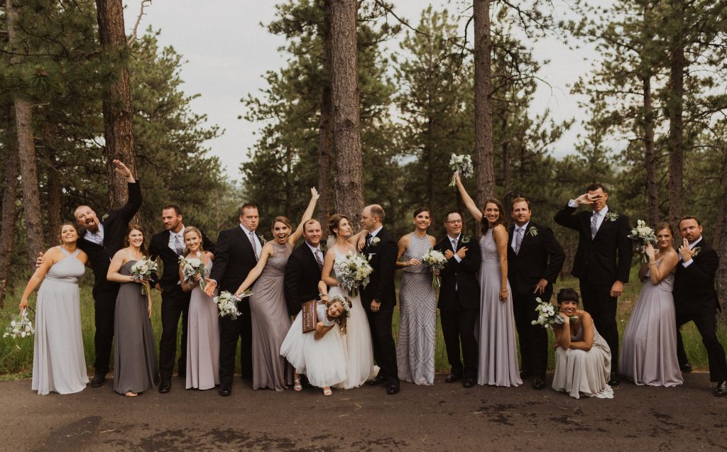 Fun bridal party picture in the mountains of Colorado