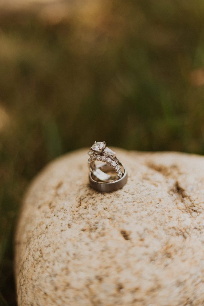 Beautiful wedding rings at mountain wedding in Colorado