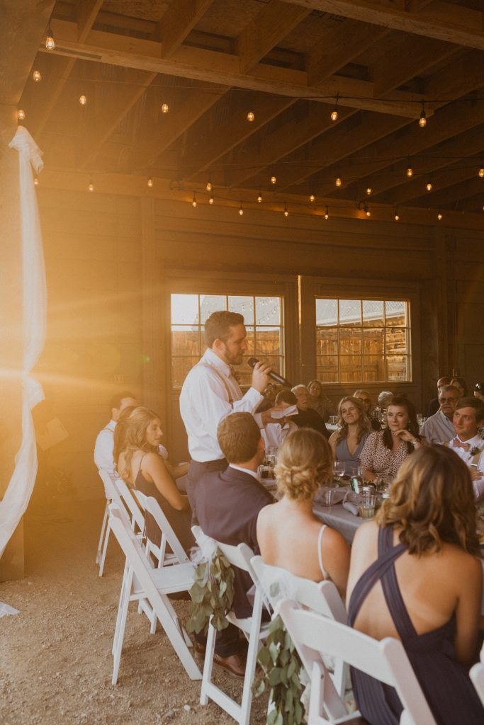 Sunset wedding speeches in Granby, Colorado